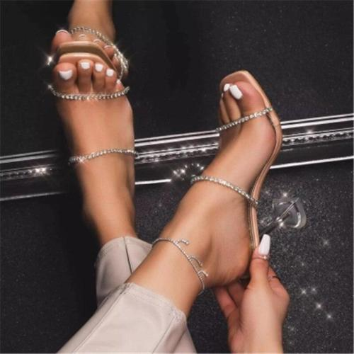 Fashion Diamond Women Slippers Summer Transparent PVC Crystal Spike High Heels Sexy Open Toed Party Ladies Shoe