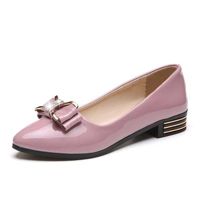 Leather Women Shoes Woman Flats Square Low Heels Bow Knot Ladies Flats Slip on Shallow Pointed Toe Casual Shoes