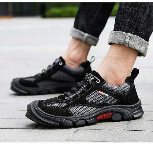 Man Leather Sneakers Suede Summer Male Mesh Shoes Breathable Men's Shoe Outdoor Walking Footwear