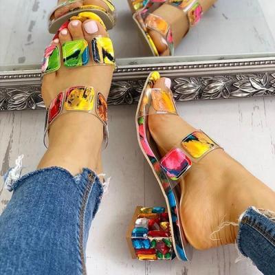Flip Flop Slip-On Chunky Heel Rubber Color Block Slippers
