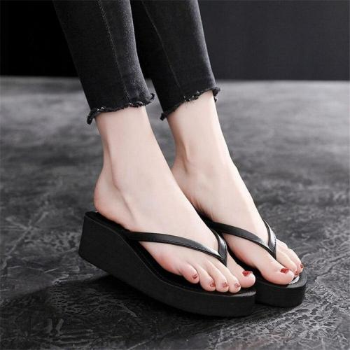 Platform Wedge Fashion Women's Slippers Pu Flat Beach Shoes Women's Non-slip Thick Bottom Flip Flops