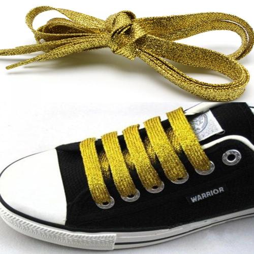 Shiny Thread Sport Sneakers Bootlaces Shoe Laces Metallic Glitter Flat Shoelaces Canvas Athletic BootsStrings