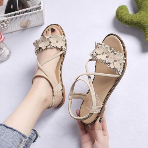 Summer Shoes Woman Sandals Fashion Bohemian Flower Flat Sandals Women Shoes Slip on Open Toe Black