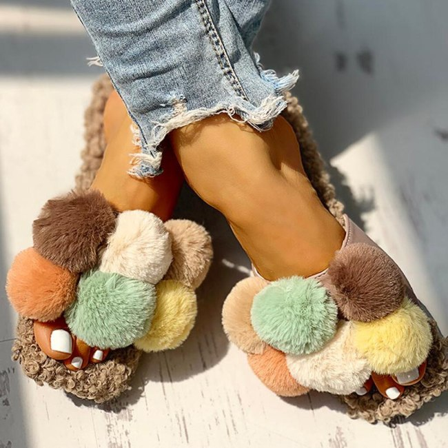 Cute Fur Shoes Women Flock Cork Slippers Summer Fashion Outdoor Furry Slides Sandals Woman Fluffy