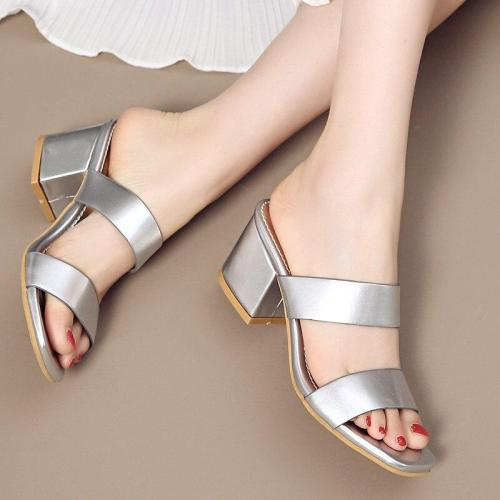 Solid Colors Summer High Heels Sandals Fashion Dress Shoes Woman Slipper