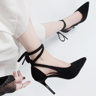 Women Summer Flock Sandals Thin High Heels Platform Ankle Wrap Pointed Toe Elegant Wedding Party Ladies Shoes Zapatos De Mujer