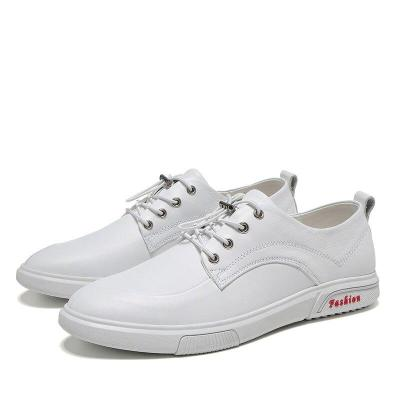 Mans Shoes White Leather Sneakers Men's Leisure Shoe Genuine Leather Male Walking Footwear New Big Size