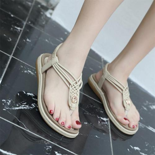 Bohemia Woman Sandals Female Flats Ladies Fashion Elastic Band Beach Shoes
