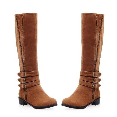 Women Knee High Boots Autumn Winter Suede Leather Low Heels Ladies Shoes Buckle Strap Zip Vintage Riding Boots