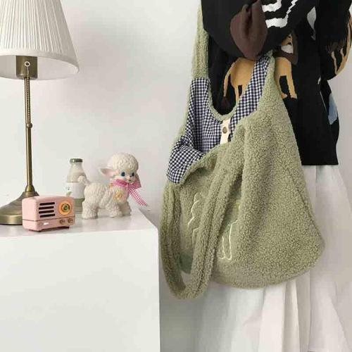 Women Lamb Fabric Shoulder Bag Canvas Handbag Tote Large Capacity Embroidery Bag Cute Bags For Girls