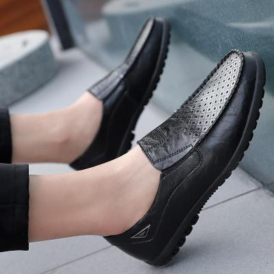 Plus Size Genuine Leather Men Casual Shoes Mens Loafers Summer Breathable Slip-on Boat Shoes