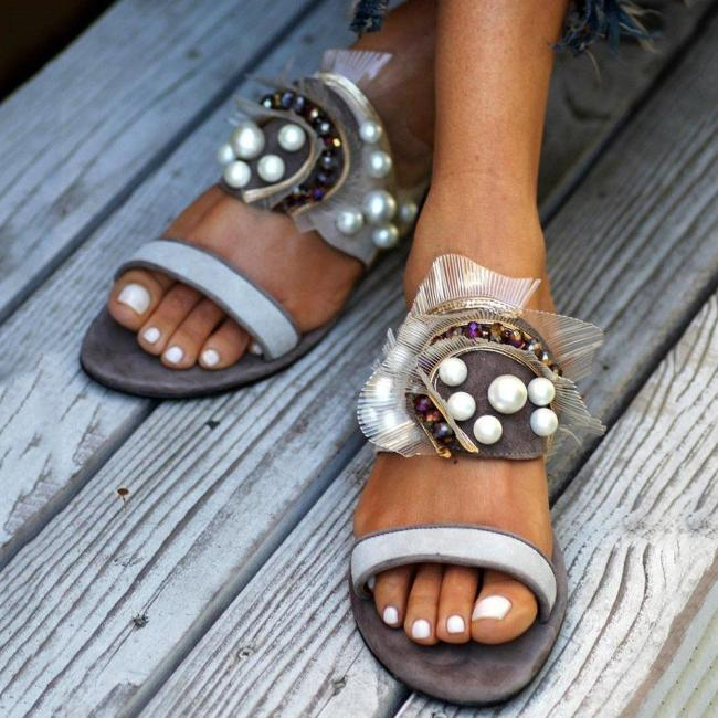 Flip Flop Flat With Beads Slip-On Casual Slippers