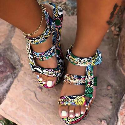 NEW Women's Sandals Summer Fashion Thick Bottom Leopard Snake Print Ladies Shoes Plus Size Dress Wedding Female Shoes