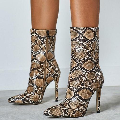 Women Ankle Boots High Heels Short Boots Stiletto Heels Snake Print Winter Shoes