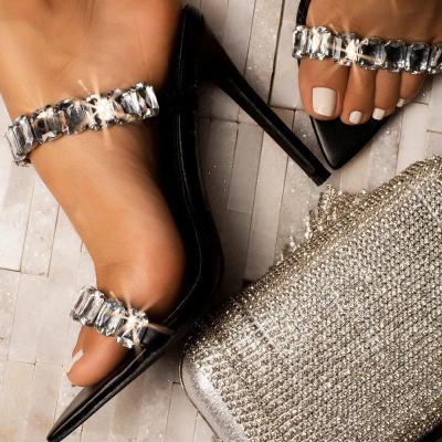 Rhinestone Slip-On Flip Flop Stiletto Heel Casual Western Slippers