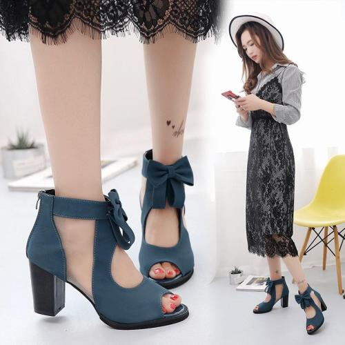 Zipper Bow Women's Sandals New Chunky Heel Shoes Sexy High Heels