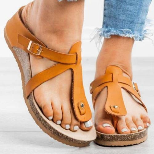 Summer Women Wedges Slippers Solid Pu Leather Adjustable Buckle Peep Toe Flip Flops Casual