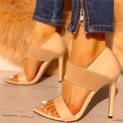 Women High Heel Shoes Summer Pointed Toe Ankle Strap Ladies Sandals Solid Thin Heel Party Wedding Pumps Sandals