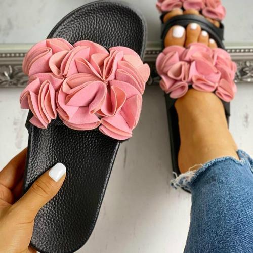 Summer Women Sandals Flat Heel Platform Flower Casual Slippers Beach Slides Outdoor