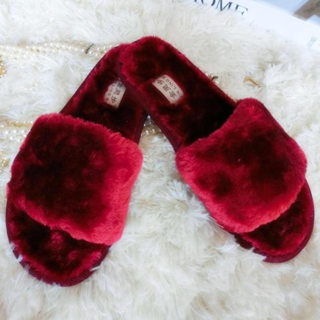 Winter Women House Slippers Fur Slides Flat Sandals Female Casual Shoes