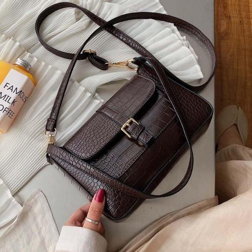 Belt Designer Pu Leather Crossbody Bags for Women Shoulder Simple Bag Lady Stone Pattern Travel Handbags and Purse
