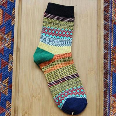 Multi-Color Fashion Unisex Stripe Cotton Socks Women Socks Green Black Orange Pink Yellow