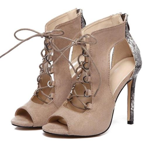 Women Summer High Heels Sandals Fetish Pumps Female Snake Print Lace Up Heels Gladiator Shoes