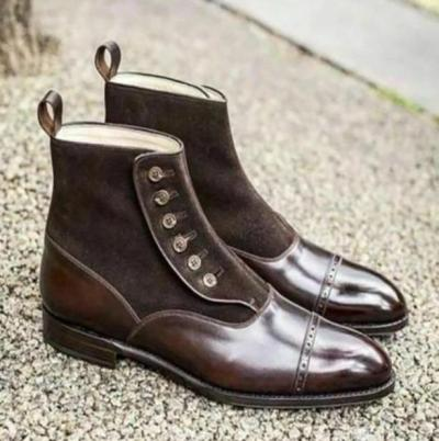 Winter Fashion Men's PU Leather Boots Pointed Toe Ankle Boots Mens Male Casual