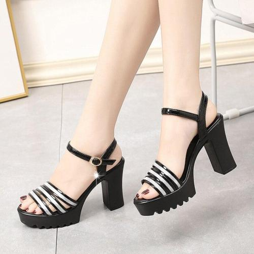 Summer Crystal Ankle Strap Gladiator Sandals Woman Thick Heel Shoes Womens Super High Heels Platform Sandals