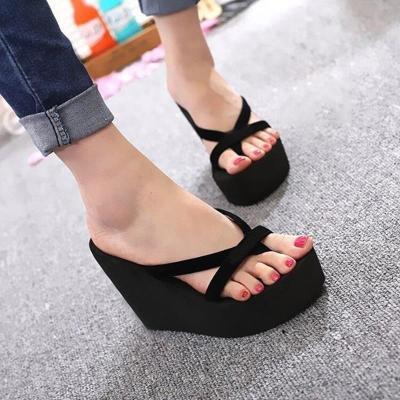 Women Fashion Slippers Super High Heels Beach Flip Flops Shoes Woman Sandals