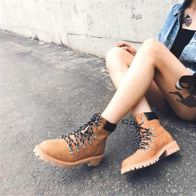 Brand Design Women Cowboy Boots Flat Boots Autumn Winter Lace Up Boots Genuine Leather