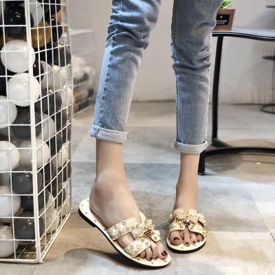 Women Sandals Flat Fashion Slip on Pearl Women Slides Sandals