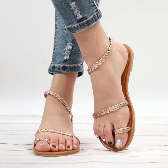 Sandals Summer Women Weaving Casual Beach Flat with Shoes Female Sandal