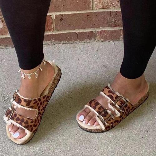 Winter Women Slippers Leopard Shoes Hollow Flat Heels Platform Fur Sole Beach Ladies Slides Party Sandals