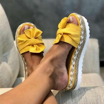 Woman Slippers Ladies Flock Butterfly Knot Platform Flat Shoes Woman Casual Fashion Slippers