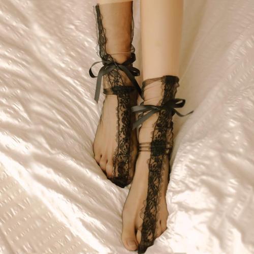 Women's Sexy Transparent Mesh Eyelash Lace Socks Ladies Ultra-Thin Princess Gauze Socks Bow Sox Female