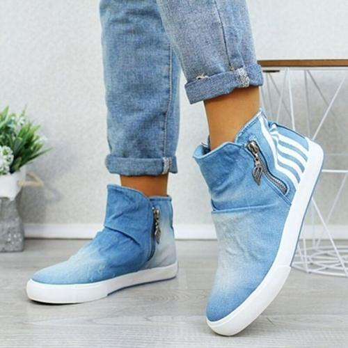Women Autumn Flats Ankle Boots Denim Jean Booties Casual Plus Size Sneaker Shoes