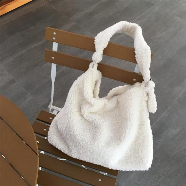 Women Handbag Luxury Designer White Multifunction Shoulder Bag Brand Faux Fur Large Tote Female Messenger Bucket Bag