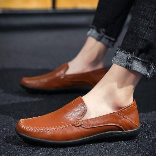 Fashion Genuine Leather Mens Shoes Casual Luxury Men Loafers Driving Shoes Slip-on Formal Moccasins