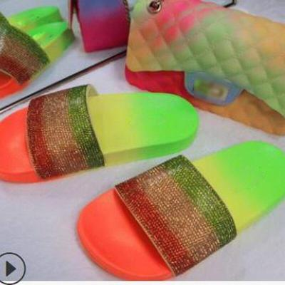 2020 Summer New Women's Shoes Open Toe Rhinestone Slippers Flat Sandals Outdoor Handmade Causal Comfortable Plus Size 41
