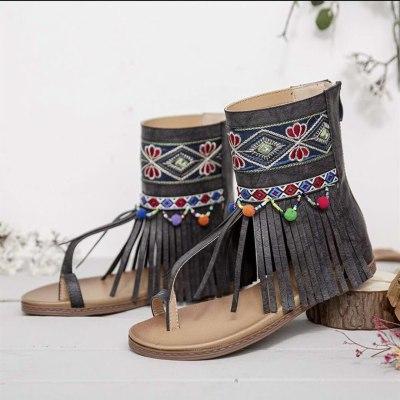 Women Bohemian Sandals Flat Tassels Casual Summer Beach Sandals Soft Ladies Shoes