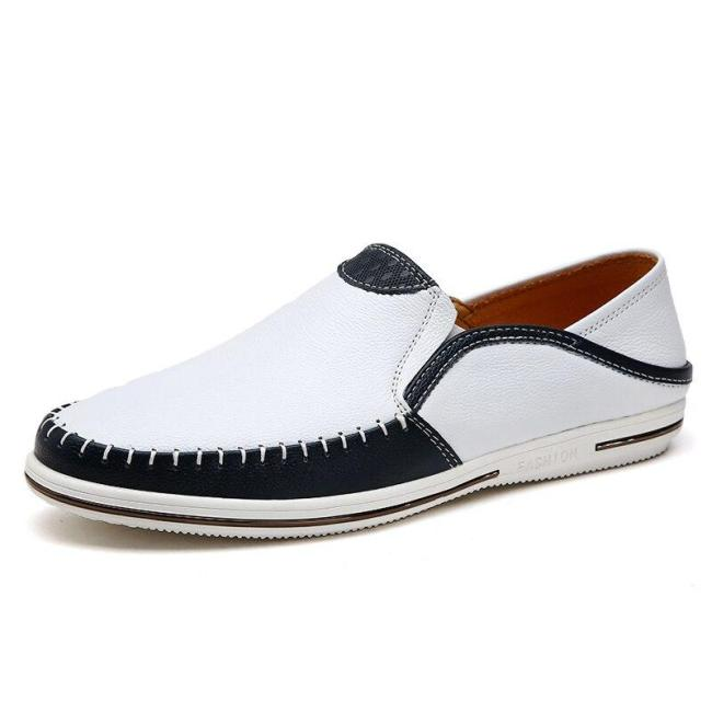 Man Leather Shoes Slip-on Fashion Summer Men's Loafers Genuine Leather Male Flat Moccasins Breathable