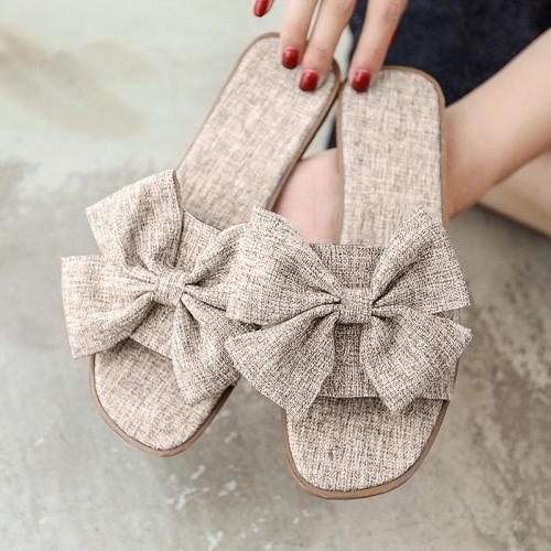 Slippers Women Bow Indoor Outdoor Flops Beach Shoes Fashion Shoes