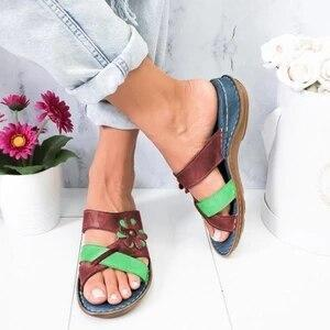 Summer Rome Retro Casual Shoes  Women Slippers Female Thick Bottom Wedge Open Toe Sandals Women Beach Slip On Slides
