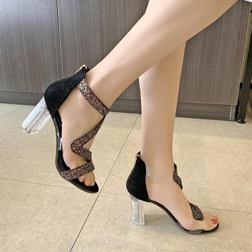 Women Sandals Ankle Strap High Heels Crystal Buckle Strap Summer Shoes Famale Fashion Rhinestone Heel