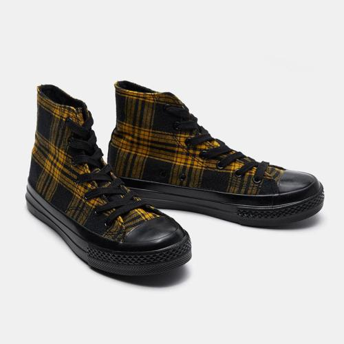 Fashion Retro Plaid High-top Plaid Black Canvas Shoes Spring Breathable Womens