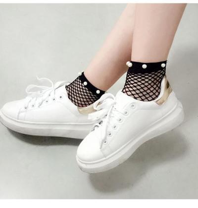 Chic Streetwear Women's Breathable Imitation Pearl Fishnet Socks Sexy Hollow out Nets Socks Ladies Mesh Sox
