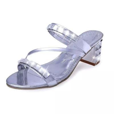 2020 Summer New Sandals Chunky Heel Slipper for Women In Summer