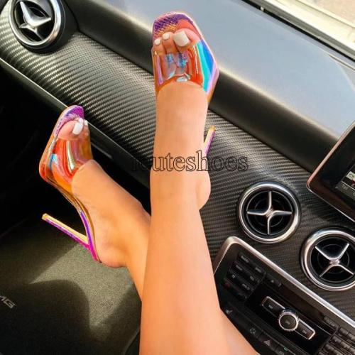 Sexy Slippers Slides Open Toe Thin High Heels Summer Women Party Shoes Ladies Stiletto Sandals