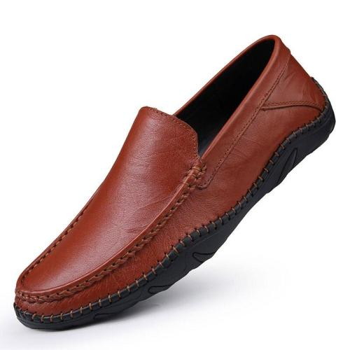 Mens Leather Shoes Slip-on Summer Man Shoes Genuine Leather Boat Footwear Loafers Male Moccasins Flat Handmade